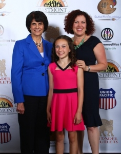 (L-R) Congresswoman Lucille Roybal-Allard, Sofia Papini and Lisa Dante Papini, Vice President of Dante Valve, attend the 21st Annual Lucille Roybal-Allard Student Art Competition Awards Ceremony, April 23, 2014.